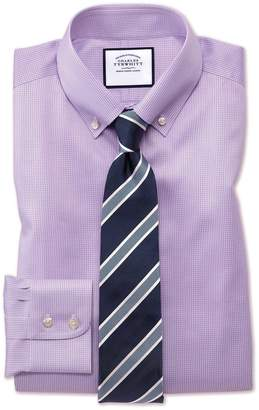 Charles Tyrwhitt Extra Slim Fit Button-Down Non-Iron Twill Puppytooth Lilac Cotton Dress Shirt Single Cuff Size 15/35