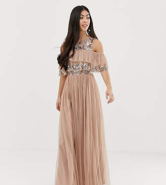 Maya Petite cold shoulder ruffle and sequin detail tulle maxi dress in taupe blush
