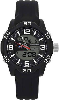 U.S. Polo Assn. USPA Mens Blue Rubber Stainless Steel Strap Anadigi Watch