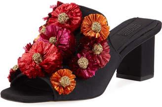 Sanayi313 Flora Block-Heel Slide Sandal