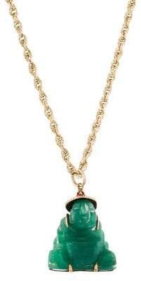 14K Aventurine & Garnet Buddha Pendant Necklace