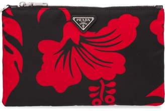 Prada printed logo clutch bag