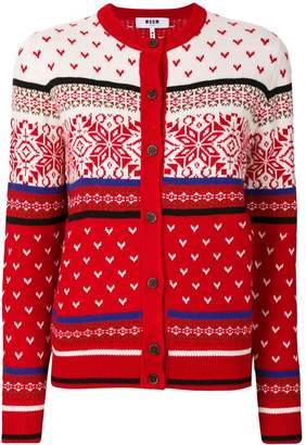 MSGM embroidered knitted cardigan