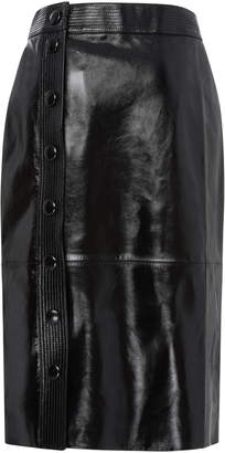 Givenchy Button-Detailed Patent-Leather Midi Skirt