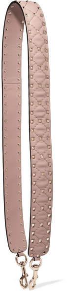 Valentino - The Rockstud Spike Matelassé Embellished Quilted Leather Bag Strap - Neutral