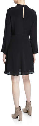 Nanette Lepore Nanette Mock-Neck Long-Sleeve Embroidered-Bodice Dress