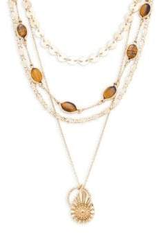Ava & Aiden Tiger's Eye Multi-Layer Charm Necklace