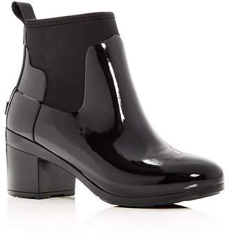 Hunter Women's Refined Gloss Mid Block Heel Rain Booties