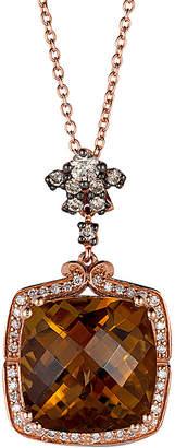 LeVian Le Vian 14K Rose Gold 6.28 Ct. Tw. Diamond & Caramel Quartz Necklace