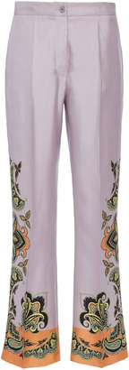 Etro Devon Mid-Rise Flared Silk Pants