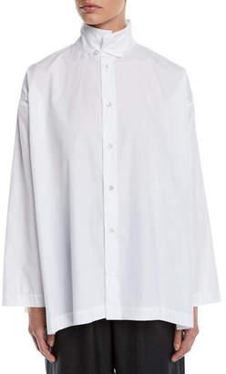 eskandar Two-Collar Button-Front Cotton Blouse