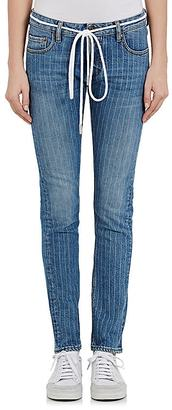 Off-White c/o Virgil Abloh Women's Pinstriped Skinny Jeans $665 thestylecure.com