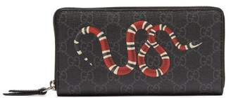 Gucci Kingsnake Zip Around Leather Wallet - Mens - Black Multi