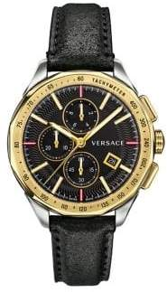 Versace Glaze Stainless Steel Leather-Strap Chronograph Watch