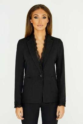 Goddiva Studio Mouthy Black Lace Trim Blazer