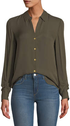 L'Agence Fiona Shirred-Sleeve Silk Button-Down Blouse