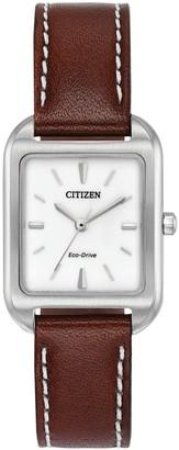 Citizen Eco-Drive Women's Silhouette Leather Watch - EM0490-08A