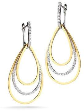 14 Karat Yellow Gold Matte-finish Tear-drop Shaped Dangling Movable Earrings