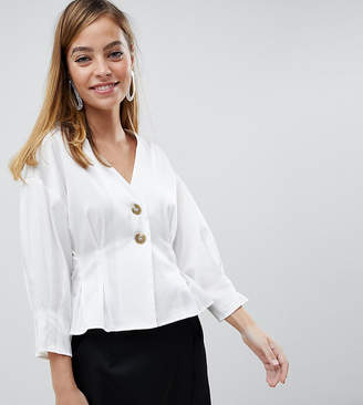 Vero Moda Petite button through gathered waist blouse