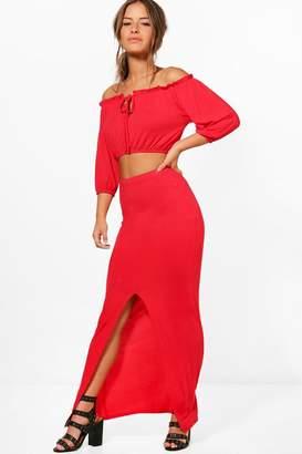 boohoo Petite Teri Off The Shoulder + Maxi Skirt Co-Ord