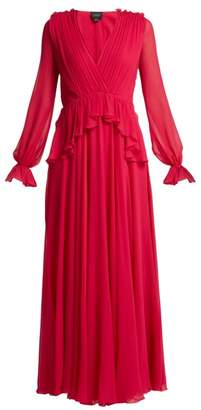 Giambattista Valli Gathered Silk Chiffon Gown - Womens - Fuchsia