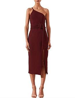 Shona Joy Andrea One Shoulder Fitted Midi Dress With Belt