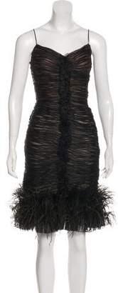 Oscar de la Renta Feather-Trimmed Knee-Length Dress