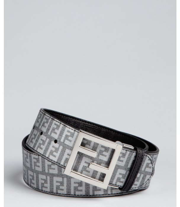 Fendi black and asphalt 'B.Mix FF' zucca spalmati reversible belt
