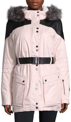 Spyder Women's Dulce Silver Fox-Trimmed Paneled Coat