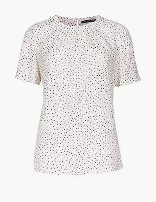 Marks and Spencer Polka Dot Round Neck Short Sleeve Shell Top