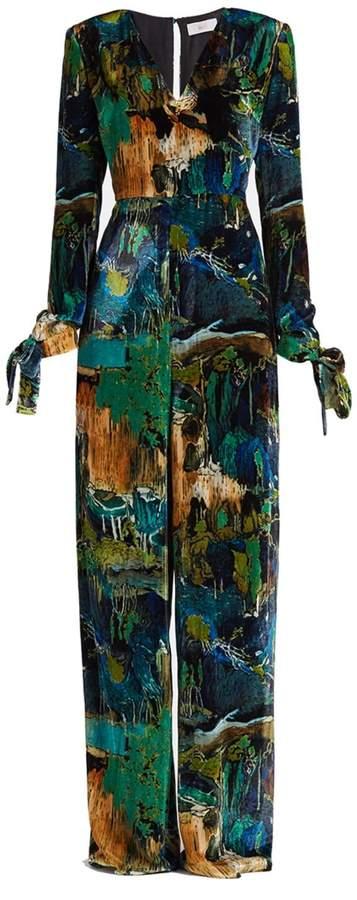 WtR - Backdrop Green Velvet Long Sleeve Jumpsuit