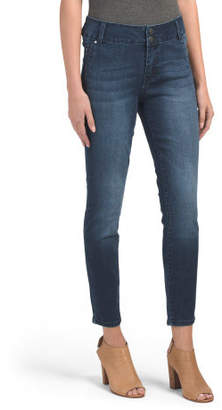 Petite High Waist Double Button Skinny Jeans