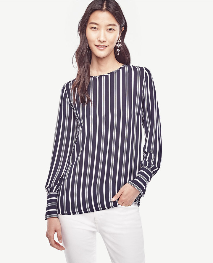 Ann Taylor Striped Wide Cuffed Blouse