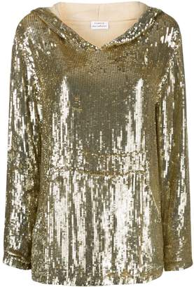 P.A.R.O.S.H. sequin double layer sleeve hoodie