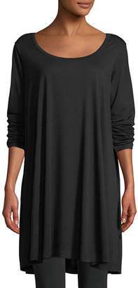 Joan Vass Scoop-Neck Long-Sleeve Tunic, Plus Size