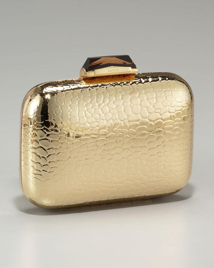 Kotur Morley Croc-Embossed Box Clutch