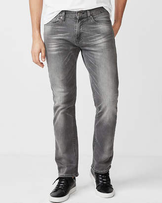 Express Slim Straight Gray Stretch Jeans