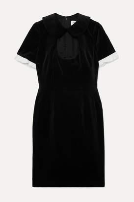 Comme des Garcons Ruffle-trimmed Cutout Cotton-velvet Dress - Black