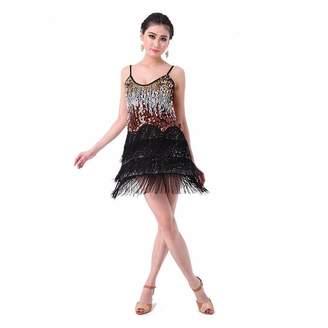 Co Pilot-trade clothing trade Pilot-trade Women's Night Club Cocktail Party Latin Ballroom Dance Sequin Fringe Dress
