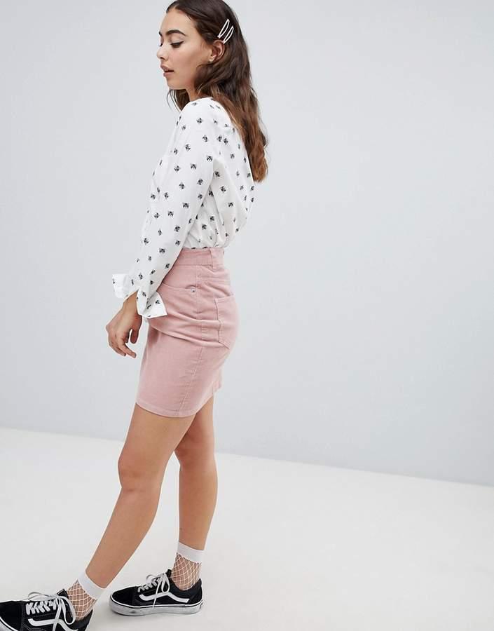 ASOS DESIGN cord original skirt in pale pink