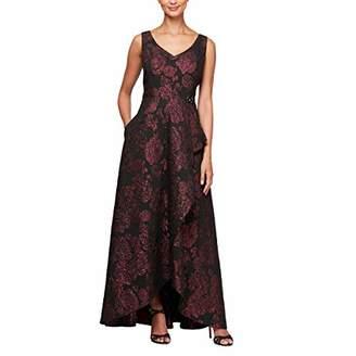843f2a658d9c70 Alex Evenings Women's V-Neck Ball Gown with Cascade Overlay Skirt Dress