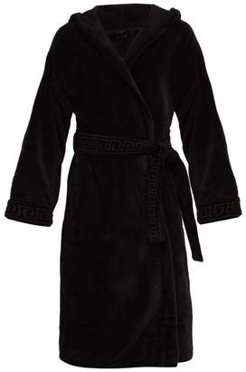 Versace Medusa Cotton Hooded Robe - Mens - Black