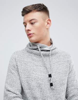 Pull&Bear Sweater With Wrap Around Collar In Gray Marl