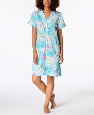 Miss Elaine Cotton Printed Short Zip Robe