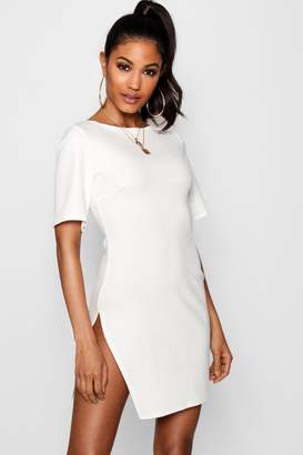 boohoo Short Sleeve Thigh Split Bodycon Dress