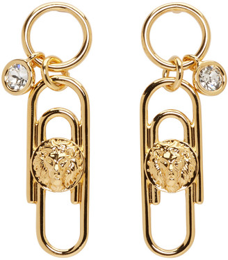 Versus Gold Safety Pin Earrings $195 thestylecure.com