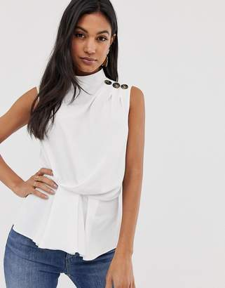 be1aded87 Asos Design DESIGN sleeveless drape front top with button detail