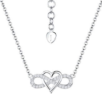 Jools by Jenny Brown Cubic Zirconia Suspended Heart Necklace, Silver