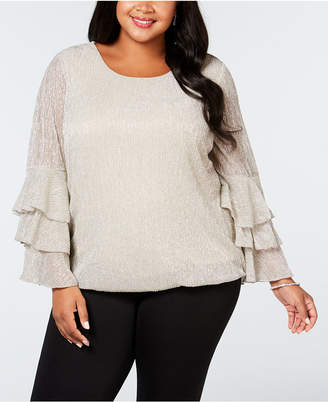 Alfani Plus Size Metallic Tiered-Sleeve Bubble Top, Created for Macy's