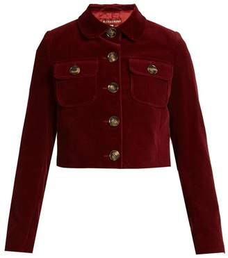 ALEXACHUNG Cropped Cotton Corduroy Jacket - Womens - Burgundy